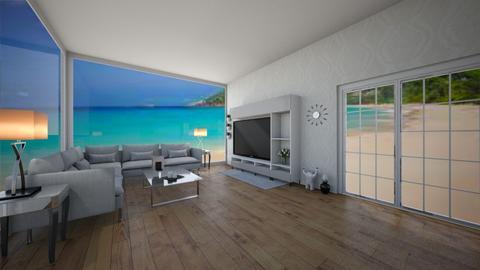 Beach House Grey TV Room - Modern - Living room  - by Mazzz02