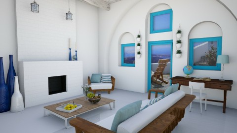 Small Santorini Villa - Minimal - Living room  - by ANM_975