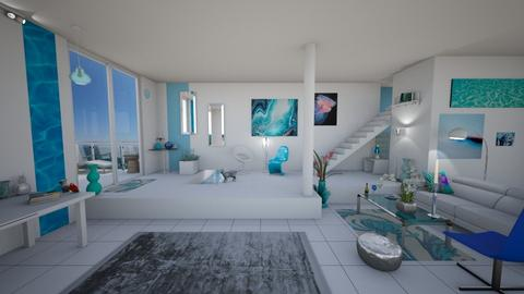 Aqua with Floor Lamps - Eclectic - Living room  - by Sophia Cooper