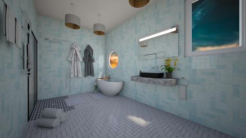 blue bathroom - Bathroom  - by Natasha W