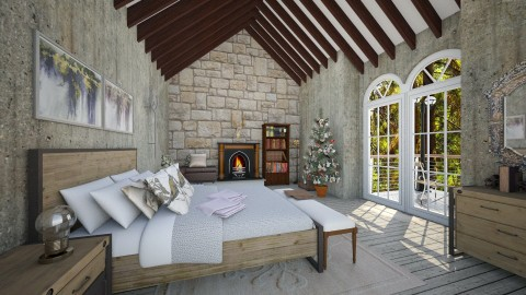 Cabin BR_1 - Rustic - Bedroom  - by genevivechen