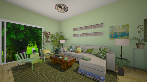 Going Green - Retro - Living room  - by OnceInALifetime