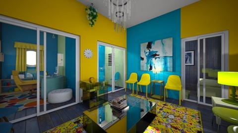 Blue and Yellow And Green - Vintage - Office  - by saragaledd123