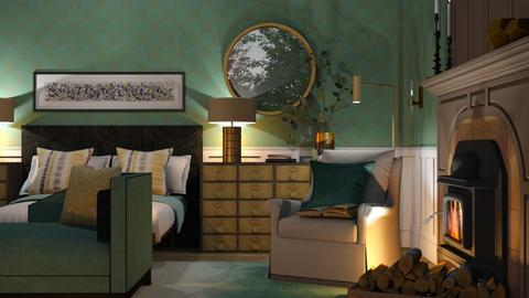 the blue and gold bed - by annamarina