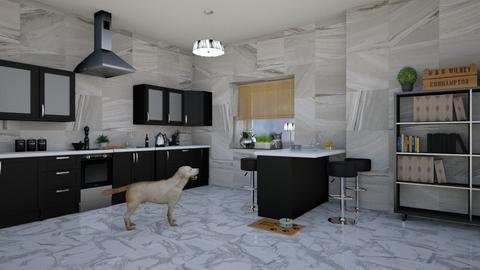 Black and marble kitchen - Kitchen  - by lpkinteriordesigns