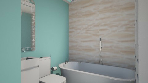 blue bathroom layout  - Glamour - Bathroom - by melbapink8