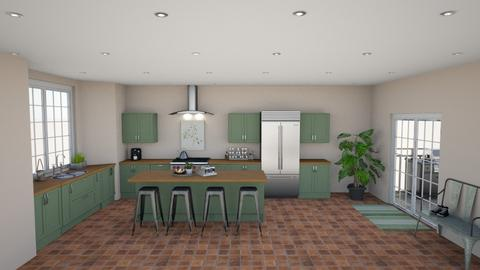 green rustic herb kitchen - Kitchen  - by sarah145