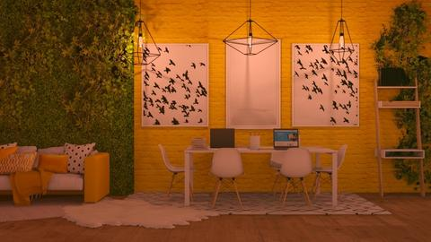 yellow office - Modern - Office  - by NEVERQUITDESIGNIT