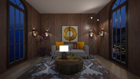 wooden wall - Rustic - Living room  - by BlackOrchidea