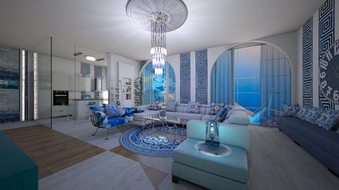 greek style living room - Living room  - by bluedolphin12