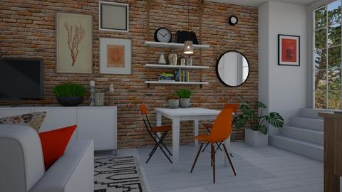 White and orange - Living room  - by Tuija