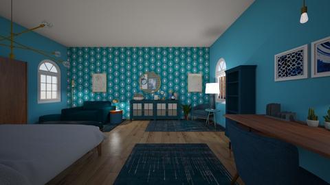 teal bedroom - Bedroom  - by PeculiarLeah