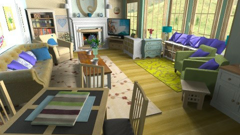 Country Blue Green Cream3 - Country - Living room  - by Suzanne Hoskins