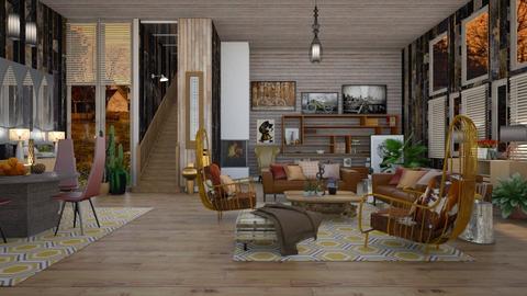 Scrap Wood Hut - Rustic - Living room  - by janip
