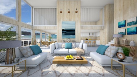 Summer Beach House - Living room  - by crosette