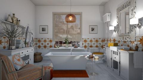 Orange White BathR - Rustic - Bathroom  - by janip