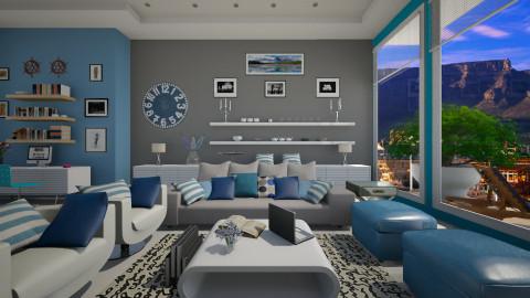 blue and grey - Modern - Living room  - by Nhezi