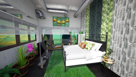 urban jungle bedroom  - by syssys