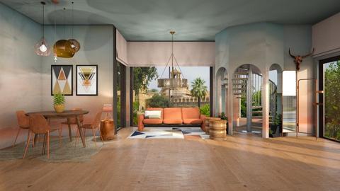 Copper Sunset - Rustic - Living room  - by evabarrett