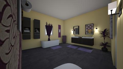 yellow purple bathroom - Bathroom - by bking012