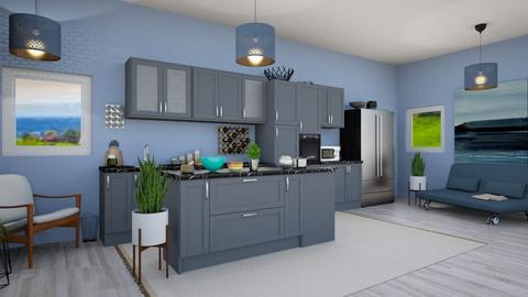 Blue Kitchen - Modern - Kitchen  - by Isaacarchitect