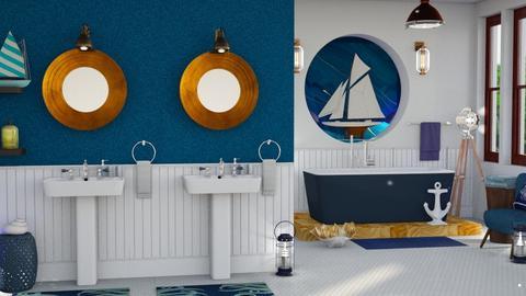 nautical blue bathroom - Bathroom  - by Moonpearl