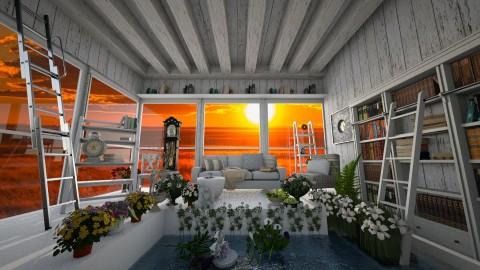 Floral Reader's Living Area - Living room  - by Cakepopss