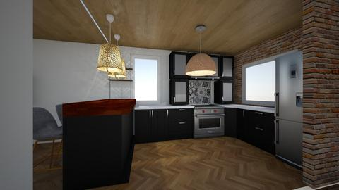 Kitchen1 with wood - Kitchen - by sancharib