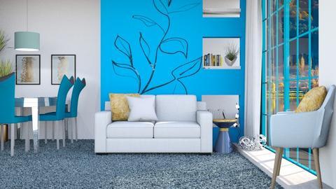 Blue n Grey Apt - Living room  - by KittyT6