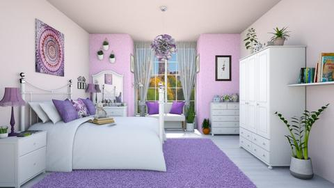 Pink and purple bedroom - Bedroom  - by Vicesz