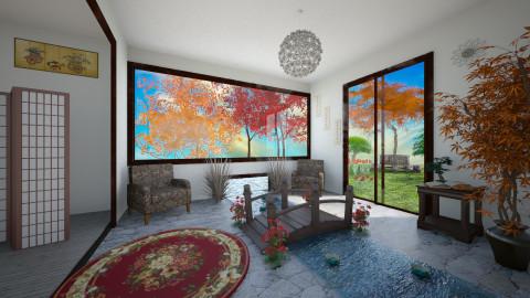 Japanese indoor red - Vintage - Living room  - by Nikki18