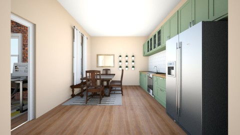 Kitchen and Dining Room - Rustic - Kitchen  - by alyssathelimpnoodle