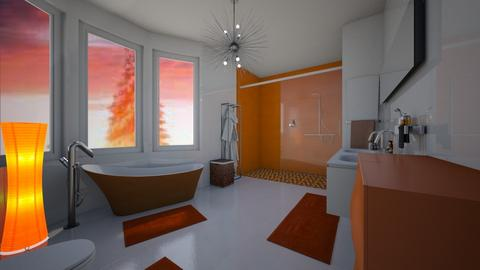 Orange white bathroom  - Bathroom  - by jasmina1