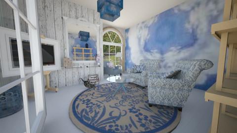 blue shibori - Rustic - Living room  - by donella
