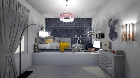 grey navy mustard - Bedroom  - by ange06