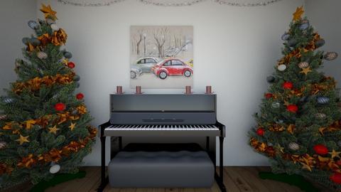 Christmas piano room - Classic - by Qanon