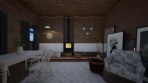 Log cabin - Country - Living room  - by evabarrett
