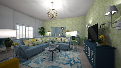 yellow blue green living2 - Eclectic - Living room - by doubtswimmer