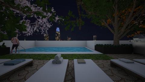 Rooftop Pool Night - Garden  - by SammyJPili