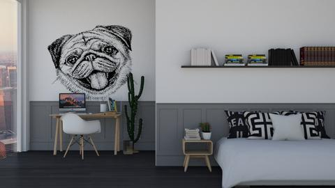Black_White_Grey Pug - Bedroom  - by KittyKat28