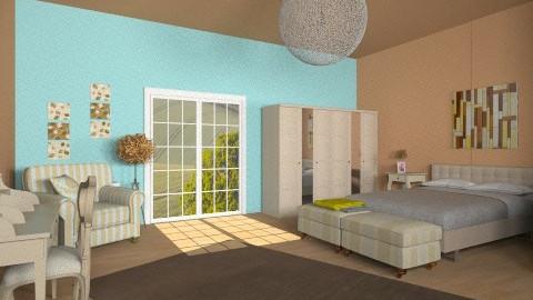 Modern brown bedroom - Modern - Bedroom  - by Sotiria Oups