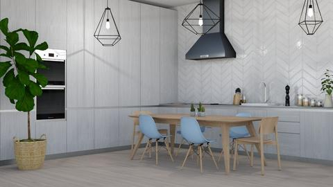 blue chairs - Modern - Kitchen  - by NEVERQUITDESIGNIT