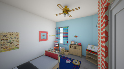 Red and Blue  - Retro - Kids room  - by JoyWillCome