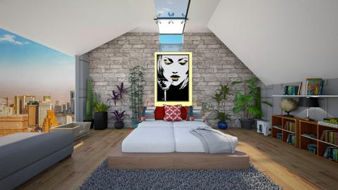 a sloped ceiling - Bedroom  - by bluedolphin12