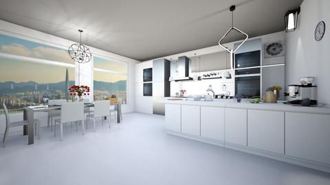 kitchen with dining room - Modern - Kitchen  - by nguyentranynhi