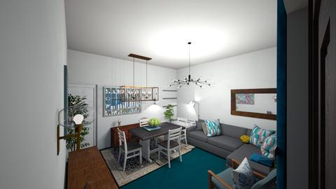 teal grey white living rm - Living room  - by Missmbaabu