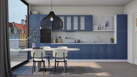 Blue Kitchen Dining - Modern - Kitchen  - by HenkRetro1960