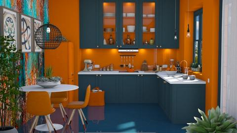 Petrol and Orange - Modern - Kitchen  - by Claudia Correia