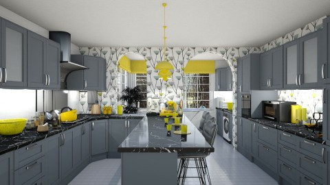 Grey Yellow Kitchen - Kitchen  - by Joao M Palla
