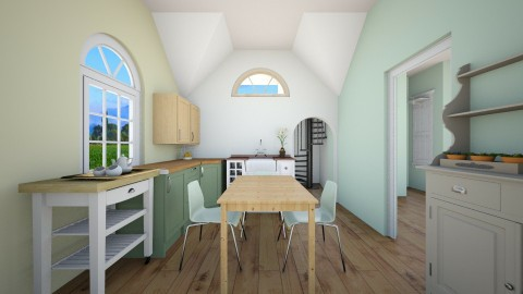 small space kitchen - Retro - Dining room  - by KJSstyler